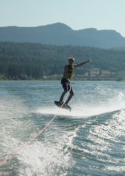 Wake boarding on the South Thompson River